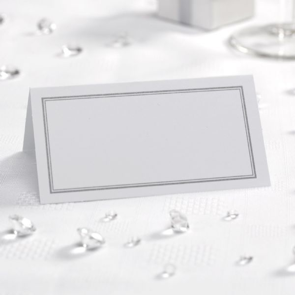 White & Silver Place Cards (50)